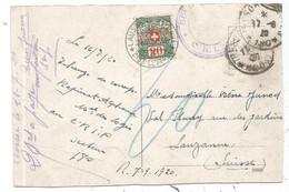 GERMANY KARTE WIESBADEN + TRESOR ET POSTES 180 POUR SUISSE TAXE 20C - Sellos Militares Desde 1900 (fuera De La Guerra)