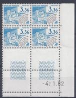 PREOBLITERE N° 177 - Bloc De 4 COIN DATE - NEUF SANS CHARNIERE - 4/1/82 - Vorausentwertungen