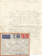 N°320 +50C PAIX  LETTRE BATEAU AVION C. OCTOG KOBE A MARSEILLE 27.2.37 N°7 - Maritieme Post