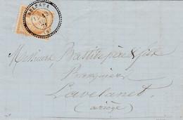N° 59 S / L Avec Texte T.P. Ob T 24 BELESTA 12 Nov 71 Pour Lavelanet - 1871-1875 Ceres