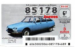 SPAIN LOTTERY TICKET VINTAGE AUTOMOVIL CITROEN GS . CAR VOITURE COCHE - Loterijbiljetten
