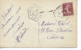 NADAILLAC Dordogne CAD Recette Auxiliaire Sur 20c Semeuse 1925    ..G - 1921-1960: Periodo Moderno