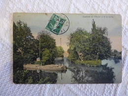 Confluent De L'Huisme Et De La Sarthe, Beau Plan De Gabarre,  Ref 2063 ; Ref CP03 - Ohne Zuordnung