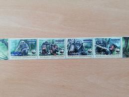 037 WWF Chimpanzé Schimpase Overprinted Blue (position May Vary) - Centrafricaine (République)