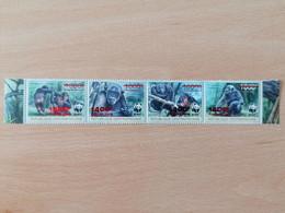 037 WWF Chimpanzé Schimpase Overprinted Red (position May Vary) - Centrafricaine (République)
