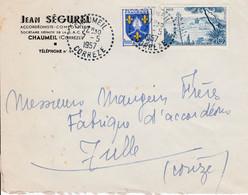 BLASON SUR LETTRE DE CHAUMEIL CORREZE 1957 ENTÊTE DE JEAN SEGUREL ACCORDÉON - Storia Postale