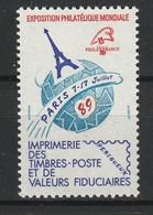 FRANCE VIGNETTE EXPOSITION PHILATELIQUE MONDIALE 1989 YT N° 25 ** - Esposizioni Filateliche