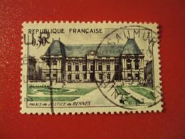 """.1960-69 - Oblitéré N° 1351   """"   Palais Justice De Rennes  """"  """"  Saumur  """"     Net    0.90 - Usados"""