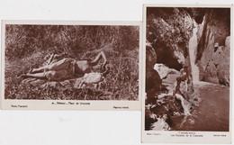 Ca - Lot De 2 Cpa Maroc - Femmes Aux Seins Nus - Fleur De Brousse + Les Naïades De La Cascade - Otros