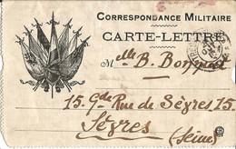 CORRESPONDANCE  MILITAIRE  CARTE-LETTRE  /  7 Drapeaux  /  Envoi En 1916  à  SÈVRES ( Seine )  /  Trésor Et Postes - FM-Karten (Militärpost)