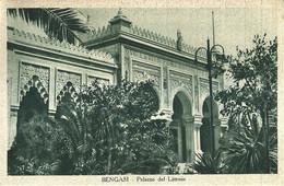 """10105 """"BENGASI-PALAZZO DEL LITTORIO""""AFFRANCATURA LIBIA-SERIE PITTORICA 10 C.-NERO E ROSA -VERA FOTO-CART SPED 1937 - Libia"""