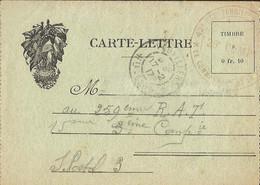 FRANCHISE  MILITAIRE  CARTE-LETTRE  /  Drapeaux  /  Envoi En 1917 Du 42ème Régt Territorial  PONT-DU-BOIS Par VAUVILLERS - FM-Karten (Militärpost)
