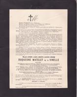 VAULX TOURNAI Henri DUQUESNE WATELET De La VINELLE 1864-1824 Bourgmestre Ancien Député Catholique De GERMINY - Avvisi Di Necrologio