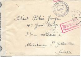 SH 0687. L. OOSTENDE -1941.Camp Militaire D' INTERNEMENT/SUISSE/AADORF V. Interné Belge à Niederburen - GFF Zuzustellen - Brieven