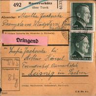 ! 1943 Rosterschütz über Turek, Wartheland Nach Leisnig, Paketkarte, Deutsches Reich, 3. Reich - Covers & Documents
