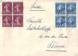 TYPE SEMEUSE CAMEE N°217x4/189x4 SUR LETTRE DE PARIS / 1927 POUR LA SUISSE - 1906-38 Sower - Cameo
