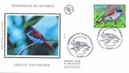 Enveloppe 1er Jour Terpsiphone De Bourbon, Oiseaux D'outre-mer 2003 (YT 3551) - 2000-2009