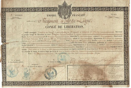 Congé De Libération 10ème Régiment D'infanterie Bayonne 1856 Tambour Nugier - Armée Française - Second Empire - Historical Documents