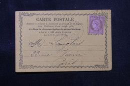 FRANCE - Carte Précurseur De Paris Pour Paris En 1875, Affranchissement Cérès 10ct - L 75147 - Voorloper Kaarten