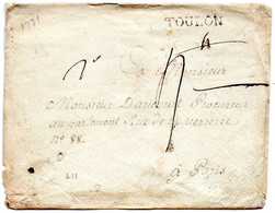 Var - LSC (enveloppe Artisanale) Marque TOULON (Lenain 11) - 1701-1800: Precursors XVIII