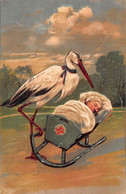 BIRTH ANNOUNCEMENT~BABY BOY HAS ARRIVED~STORK ROCKS BABY IN CRADLE~1909 EMBOSSED POSTCARD 49738 - Nascite