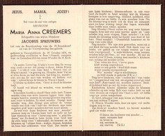Maria Anna Creemers ° Neerglabbeek 1874 + Bree-'t Hasselt  X Jacobus Spreuwers - Andachtsbilder