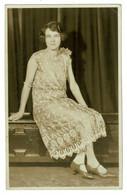 Ref BB 1419  - Early Real Photo Postcard - Cheltenham & Evesham Woman - Fashion Dress - Moda
