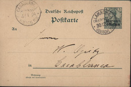 Entier 5 Reichpost Surcharge Marocco 5 Centimos CAD Maroc Allemand Larache Deutsche Post 30 12 04 - Oficina: Marruecos