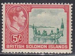 British Solomon Islands, Scott #78, Mint Hinged, Malaita Canoe, Issued 1939 - British Solomon Islands (...-1978)