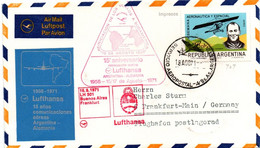 Buenos Aires Frankfurt 1971 - 15° Aniversario Inaugural Flight 1er Vol Erstflug Primo Volo Primer Vuelo - Lufthansa - Cartas