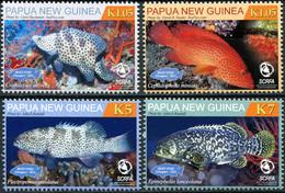 Papua New Guinea 2011. Reef Fish. Grouper (MNH OG) Set Of 4 Stamps - Papua-Neuguinea