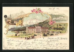 Lithographie St. Moritz, Stahlbad Und Andere Motive - GR Grisons