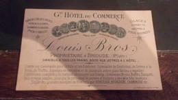 Carte De Visite Menu Haute Loire Brioude GRAND HOTEL DU COMMERCE 1882 LOUIS BROS OMNIBUS CRIVES - Visiting Cards