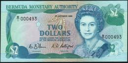 ♛ BERMUDA - 2 Dollars 01.10.1988 {Prefix B/1 000493} AU-UNC P.34 A - Bermudas