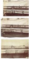 Ensemble De 3 Photographies - Maquette Technique - Rails, Jetée, Industrie, Science - 1880 - Trains