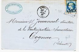 France,  Gironde, Langon Type 17 En 1870  Gc 1945 Pour Bordeaux Ind 3 TB - 1849-1876: Periodo Classico