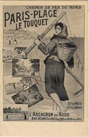 PARIS PLAGE Le TOUQUET-- Chemins De Fer Du Nord - Carte Publicitaire Originale Illustrée Par Louis TAUZIN (Noir Et Blanc - Werbepostkarten