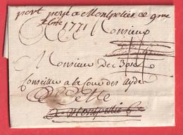 MARQUE A SEC BLAYE GIRONDE + PORT PAYE MANUSCRIT MONTPELLIER HERAULT REEXPEDIEE A CETTE SETE 1771 - 1701-1800: Precursori XVIII