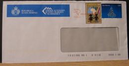 STPN738- BUSTA PT - SAN MARINO ARRIVI E PARTENZE - 0,10 MALAWI FOR THE CHILDREN - 0,60€ ALBERO DI NATALE - Briefe U. Dokumente