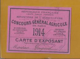Rare Exhibitor Card For The Paris Agricola Competition 1914. Carte D'exposant Au Concours Agricole De Paris. World War. - Farm