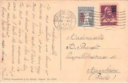 SWITZERLAND - PICTURE POSTCARD 1921 - MANNHEIM /ak1064 - Cartas
