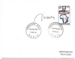 1432 - COOPERATION AVEC L'AFRIQUE ET MADAGASCAR 1er Jour Au 6/11/64 - Signature De L'auteur DECARIS - TB - 1960-1969