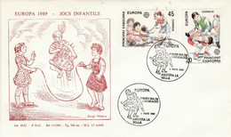 ANDORRE ESPAGNOL FDC 1989 EUROPA - Lettres & Documents
