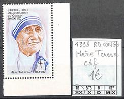 D - [855751]TB//**/Mnh-RD Congo 1998 - Mère Teresa, Cdf, Personnalités - Mint/hinged