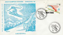 ANDORRE ESPAGNOL FDC 1984 J O SARAJEVO - SAUT - Covers & Documents