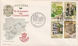 ANDORRE ESPAGNOL FDC 1978 COURRIER ESPAGNOL - Cartas