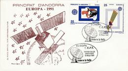 ANDORRE ESPAGNOL FDC 1991 EUROPA - Lettres & Documents