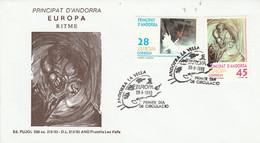 ANDORRE ESPAGNOL FDC 1993 EUROPA - Lettres & Documents