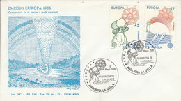 ANDORRE ESPAGNOL FDC 1986 EUROPA - Lettres & Documents