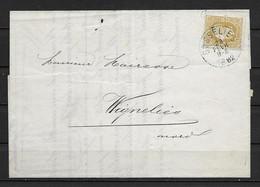 OBP32 Op Brief Van 28 Fevr. 1882 Vanuit Gosselies Naar Wignehies Met Aankomststempel - 1869-1883 Leopold II